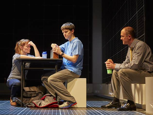 Gina Isaac, Joshua Jenkins and Lucas Hare in The Curious Incident of the Dog in the Night-Time