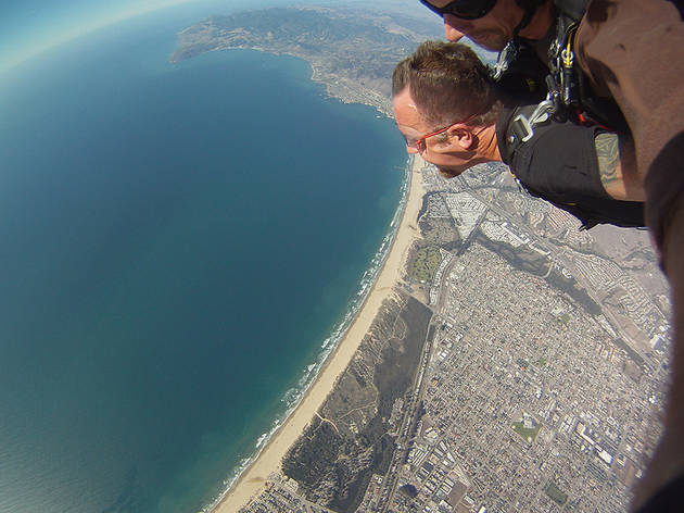Skydive over the beach in Pismo, California