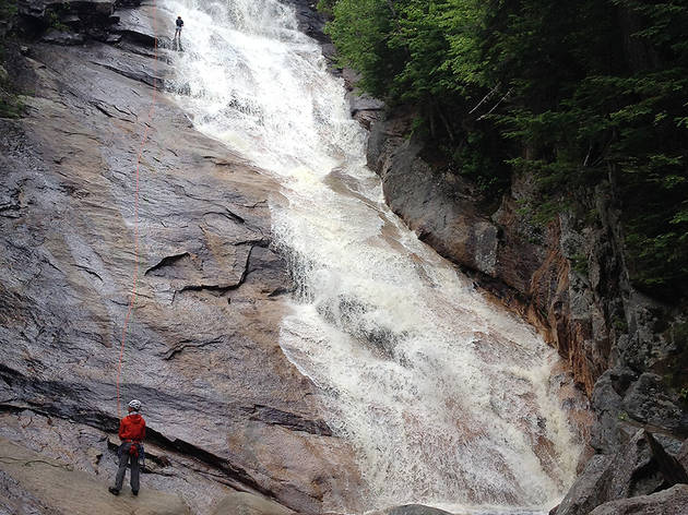 Go waterfall rappelling through New Hampshire's White Mountains
