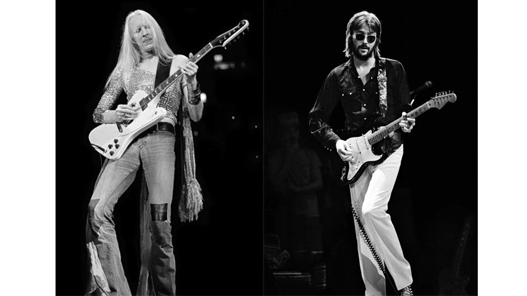 Left: June 1973, Johnny Winter /  Right: July 13, 1974, Eric Clapton