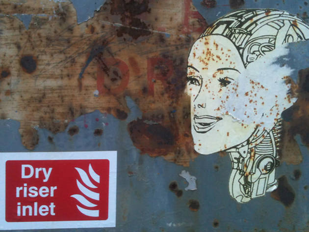 edinburgh street art cyborg