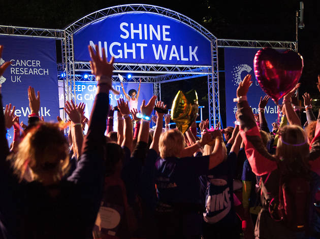 shine, crowd, night walk