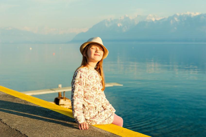 Happy girl in Switzerland