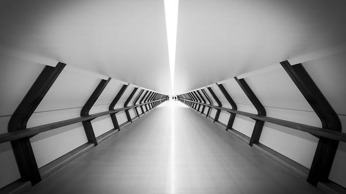 This perspective of a London walkway leads to a vanishing point.