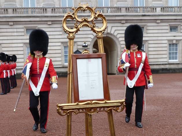 Palace guards and the announcment of the royal princess's birth.