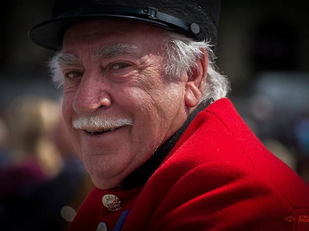 A Chelsea Pensioner at the VE Celebrations 2015.