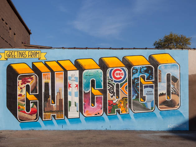 Greetings from Chicago mural.