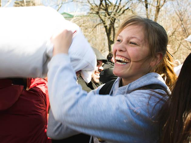 International Pillow Fight Day at Washington Square Park