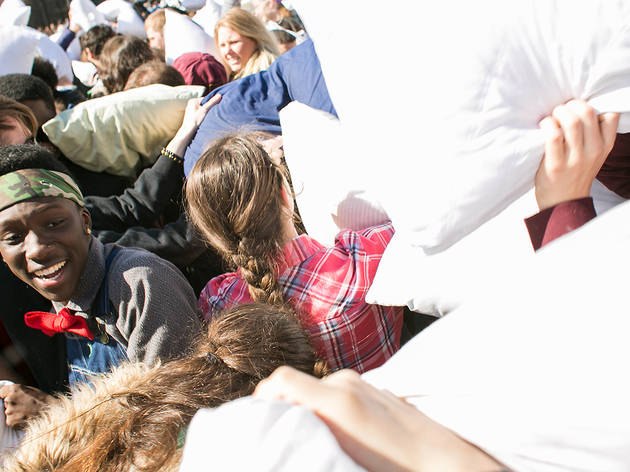 April 4, International Pillow Fight Day at Washington Square Park