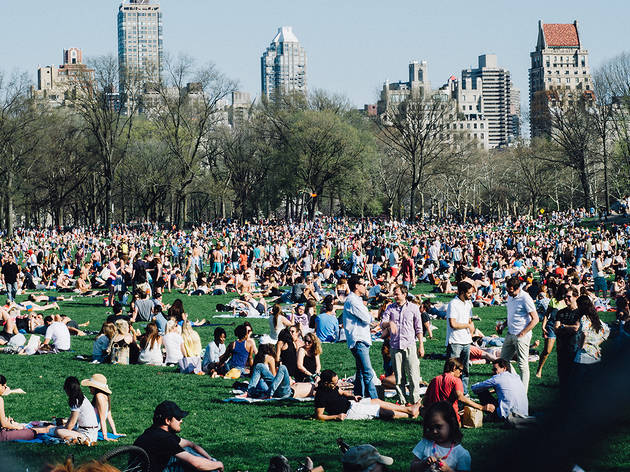 New Yorkers enjoy the weather in Central Park.