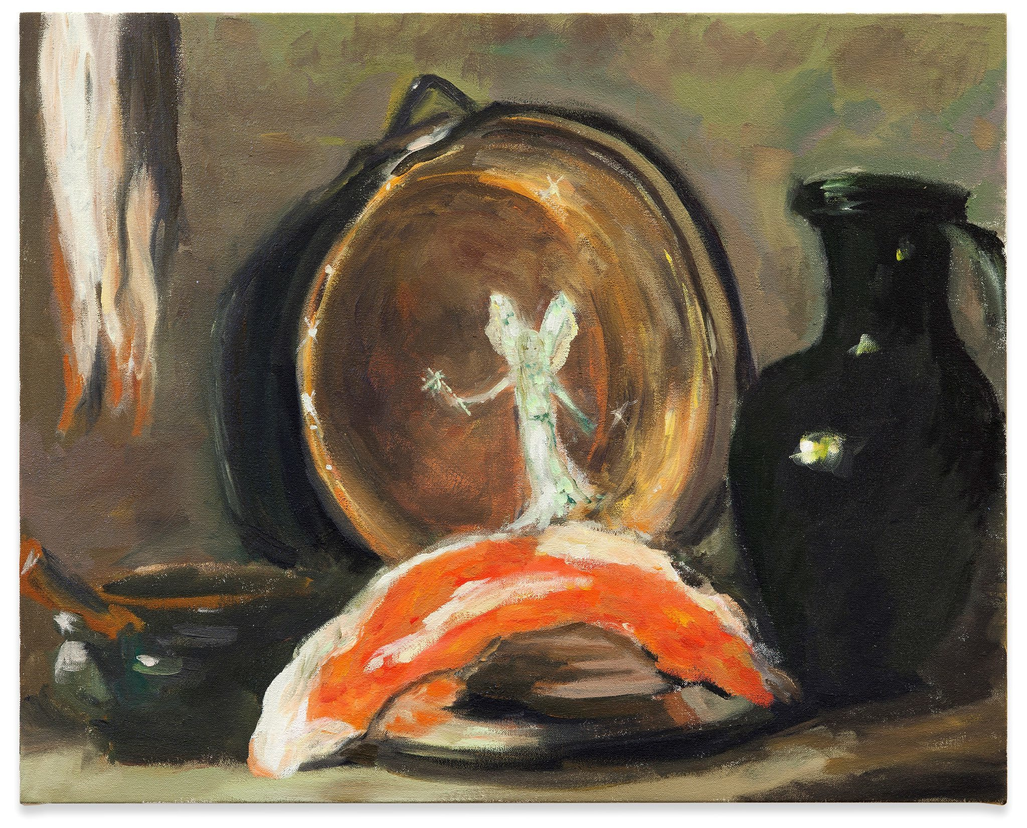 (Karen Kilimnik, 'The Fairy cleaning the copper pot with Fairy Dish Soap', 2014)