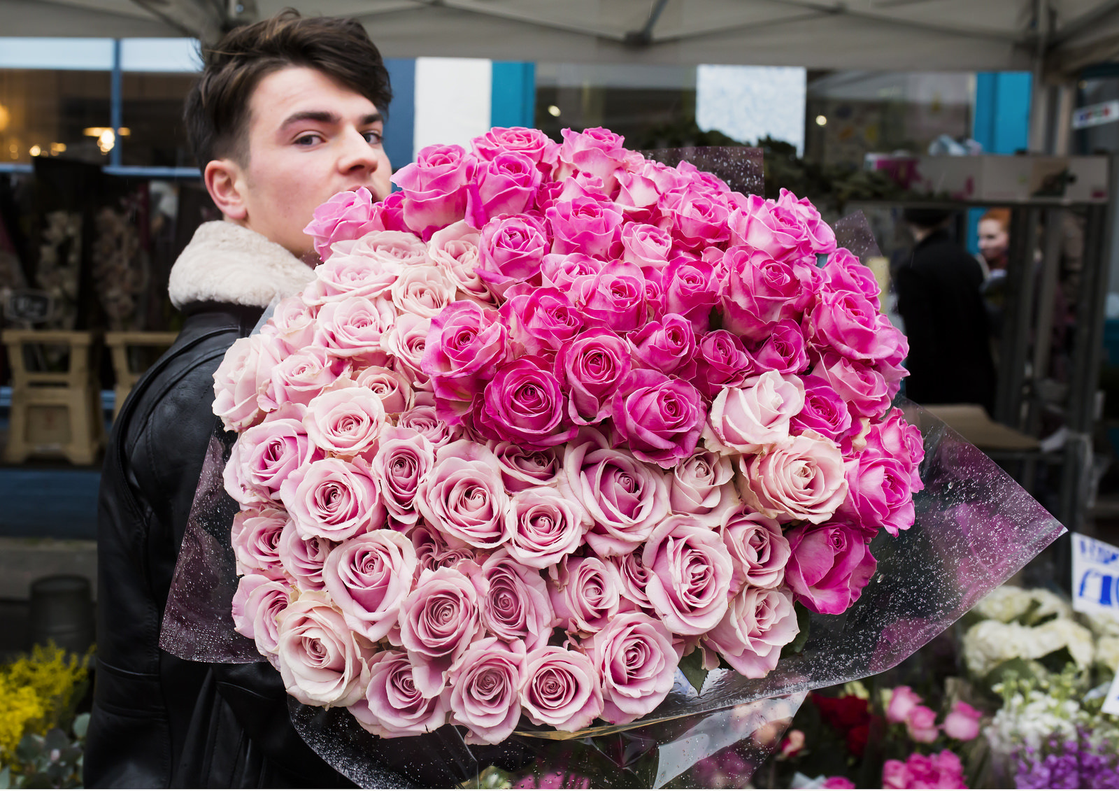 A big bunch of roses at Columbia Road Flower Market.