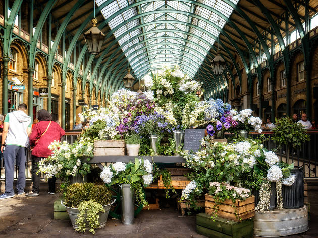 A Covent Garden flower stall.