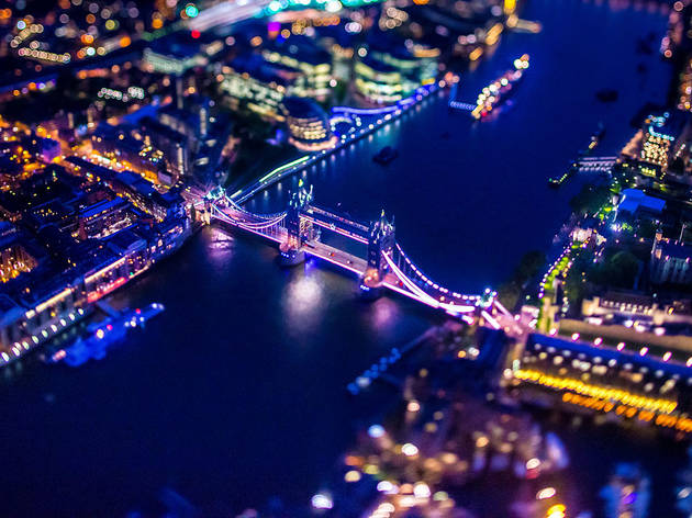 Tower Bridge from the air at night.