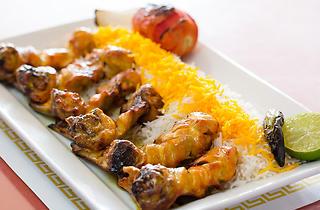 Chicken bone-in with rice at Farsi Café