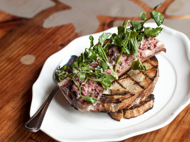 Bone marrow & steak tartare at Bohemian House