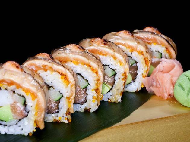 The Sushi Bar - salmon aburi roll