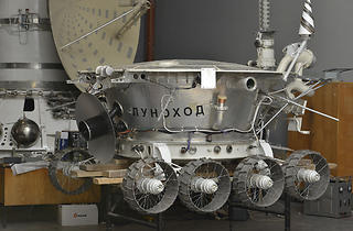 (Lunokhod-2 lunar roving vehicle, 1973 c. Lavochkin Research and Production Association / Photo: State Museum and Exhibition Center ROSIZO)