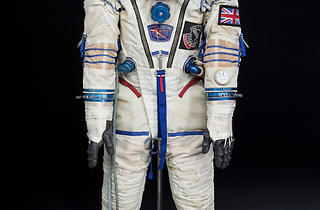 (SOKOL space suit worn by Helen Sharman in 1991, manufactured by Zvezda, c. Science Museum / SSPL)