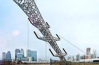 ( 'A Bullet From A Shooting Star' by Alex Chinneck supported by Knight Dragon, image courtesy of the London Design Festival)