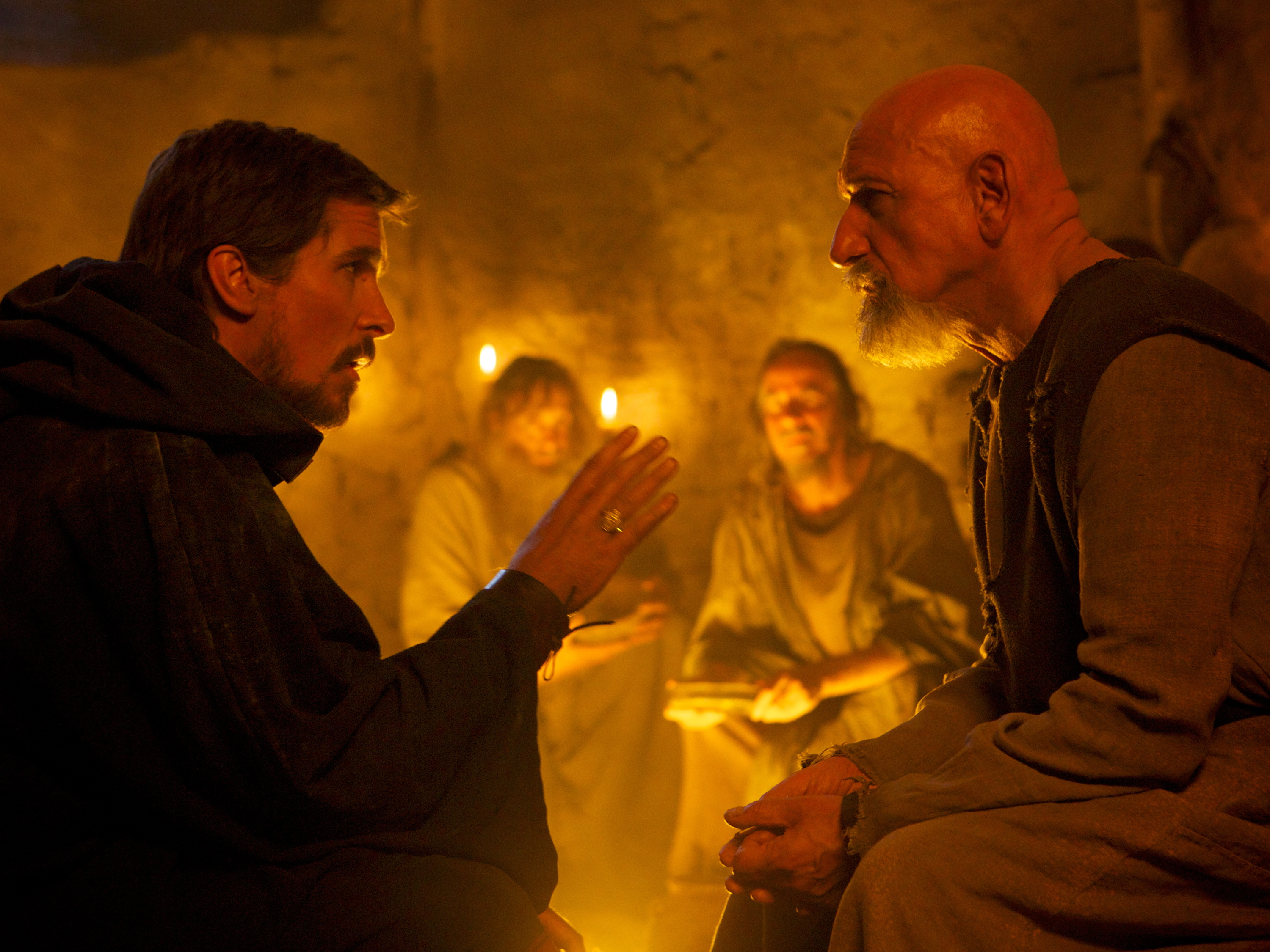 50 Great British actors, Christian Bale as Moses.Ben Kingsley as Nun