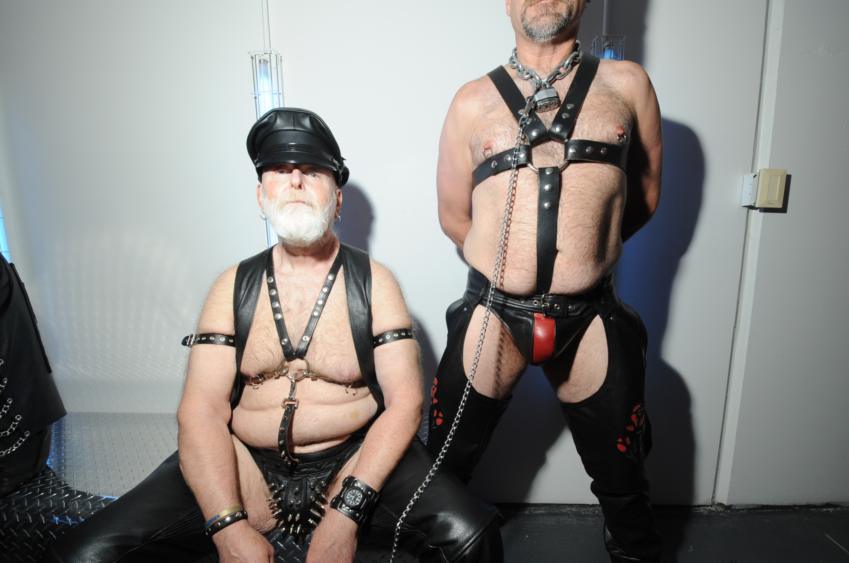 Straps and chaps are on display during International Mr. Leather Contest on May 24, 2015.