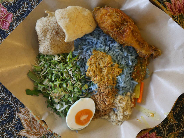 Nasi kerabu at Kesom, RM13 with fried chicken