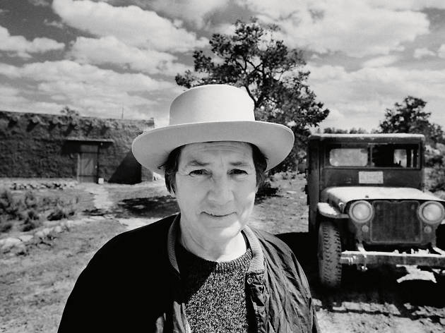 ('Head and shoulders portrait of Martin at her house near Cuba, New Mexico, 1974' by Gianfranco Gorgoni.  © 2015 Agnes Martin / Artists Rights Society (ARS), New York)