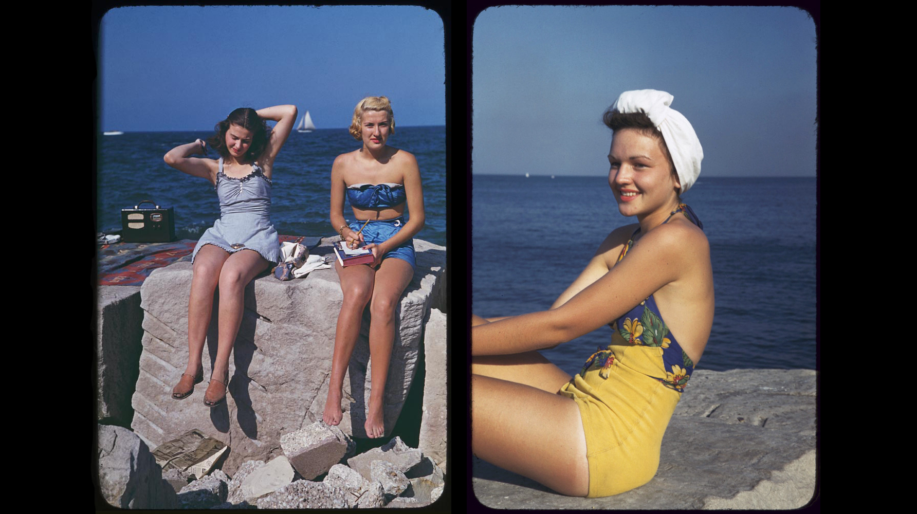 (Left) Two women relax with a radio and book at Promontory Point, July 30, 1941. (Right) Mary on Promontory Point, Sept 1944 (Right)