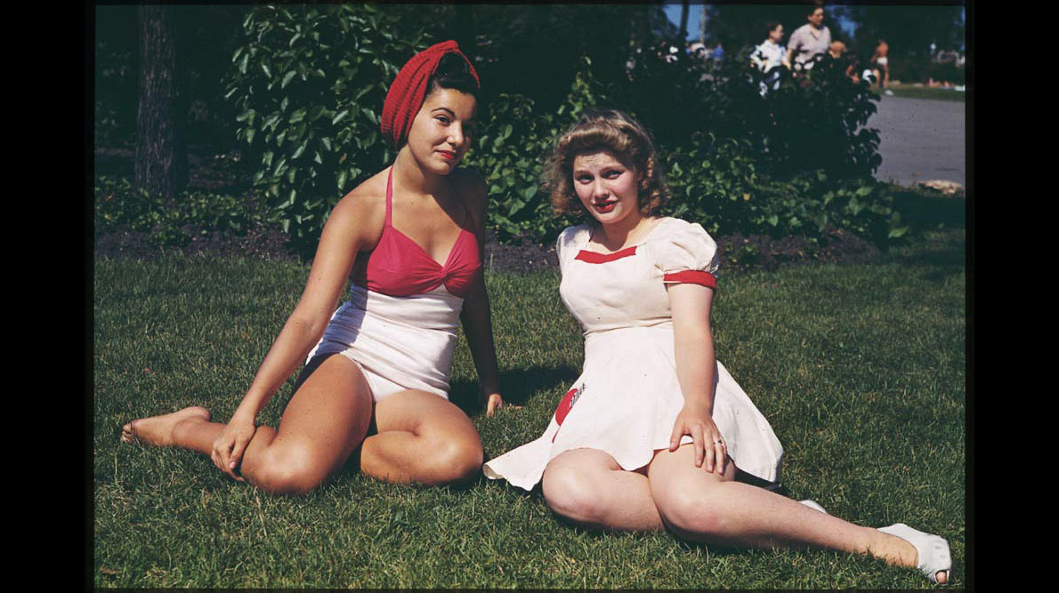 Judy and a friend lounge in the grass at Promontory Point, July 20, 1941.