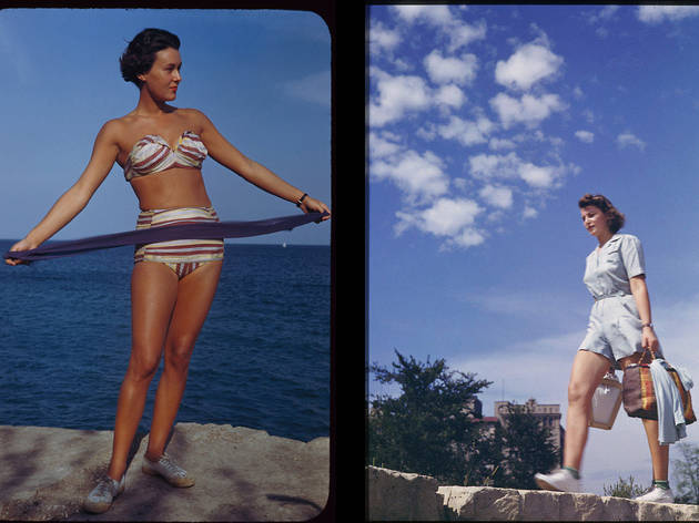 (Left) Maria at Promontory Point, September 3, 1949. (Right) A girl walks atop the Promontory rocks August  24, 1941.