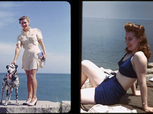 (Left) Girl with dalmatian at 55th St. along Promontory Point. (Right) Mary Jane at Promontory Point, June 1944.