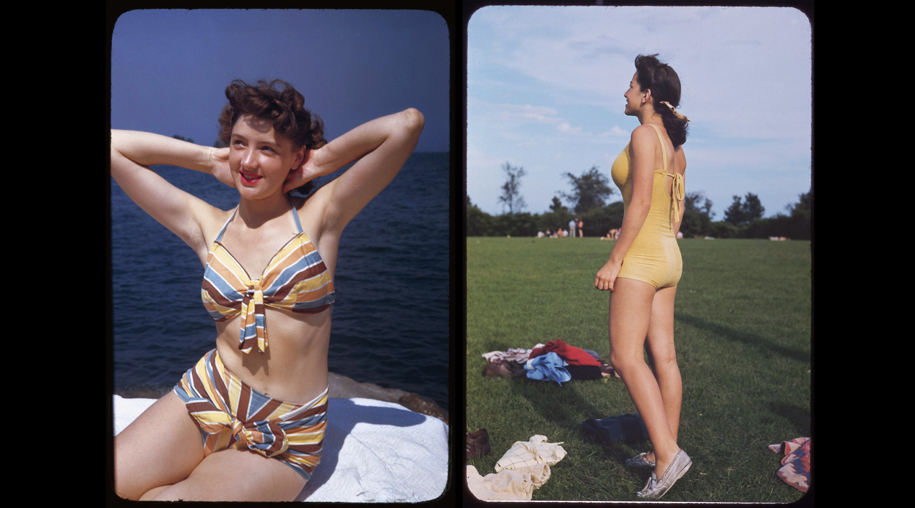 (Left) Jo, a United Airlines Stewardess at Promontory Point, September 6, 1945. (Right) Promontory Point, September 7,1941.
