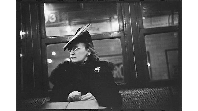 Walker Evans, Subway Passenger, New York City: Woman in Feathered Cap, 1941