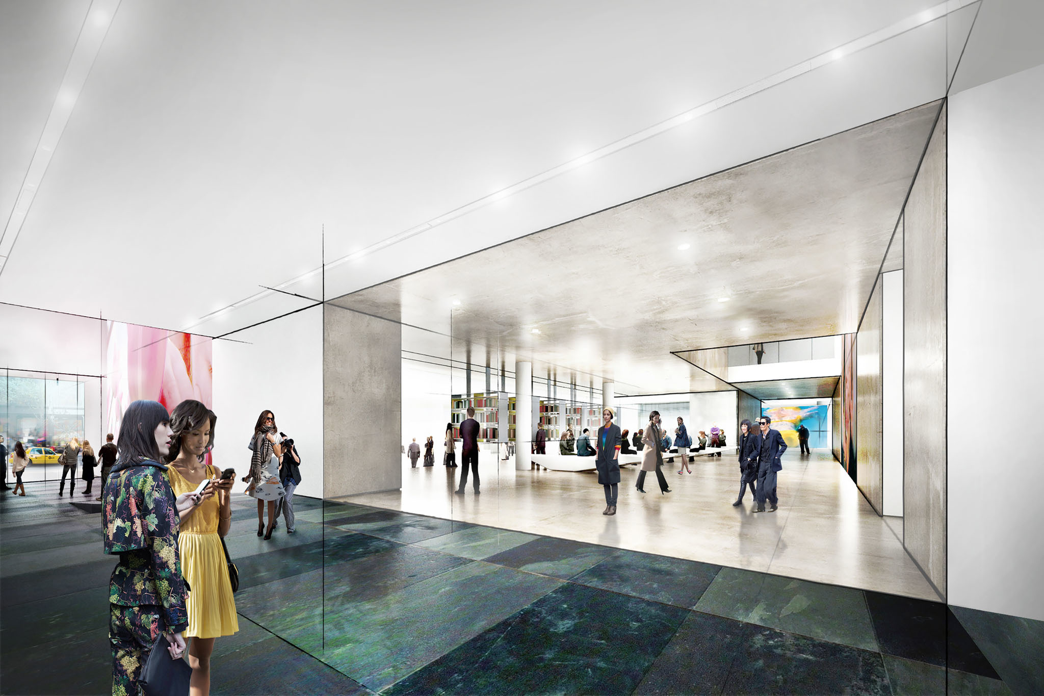 Diller Scofido + Renfro's new design for MoMA; view of the lobby, looking west