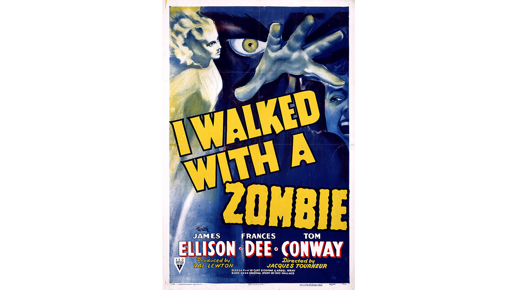 One-sheet poster for I Walked With a Zombie, directed by Jacques Tourneur, USA, 1943
