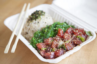 Shoyu poke with seaweed salad and brown rice at Jus' Poke