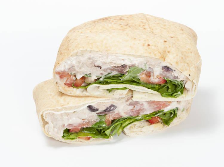 Mediterranean tuna flat bread