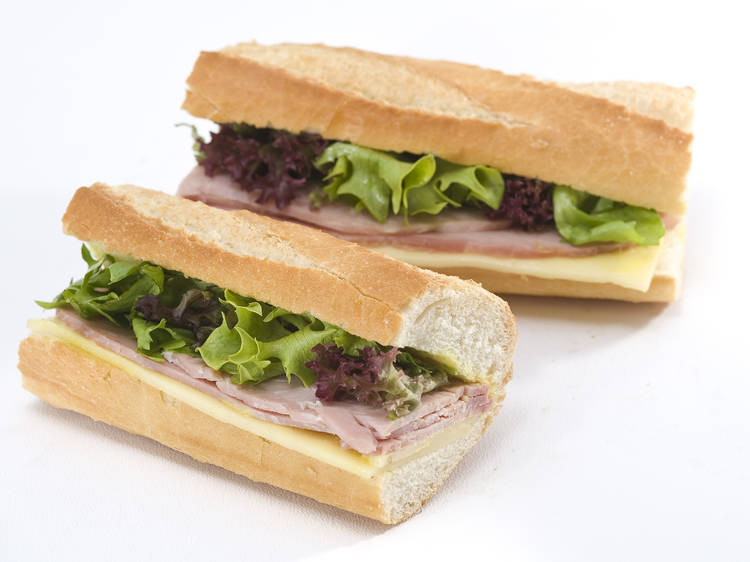 Wiltshire-cured ham & greve cheese baguette