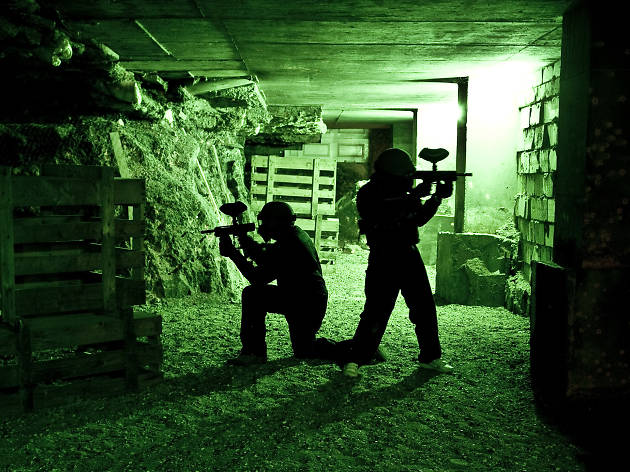 Play LaserTag in a bunker