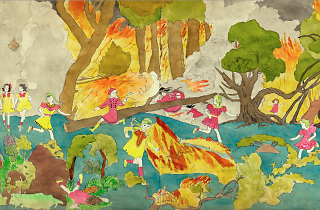 (Henry Darger, 'Again running from forest flames', 1910-1970 / © Eric Emo / Musée d'Art moderne / Roger-Viollet)