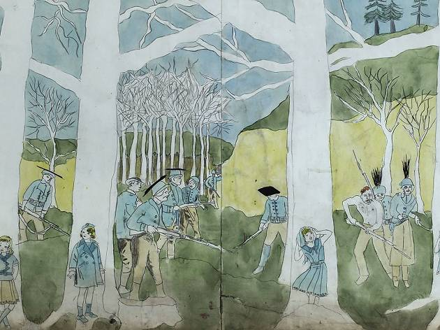 (Henry Darger, 'Second battle of McAllister Run they are pursued', 1910-1970 / © Eric Emo / Musée d'Art moderne / Roger-Viollet)