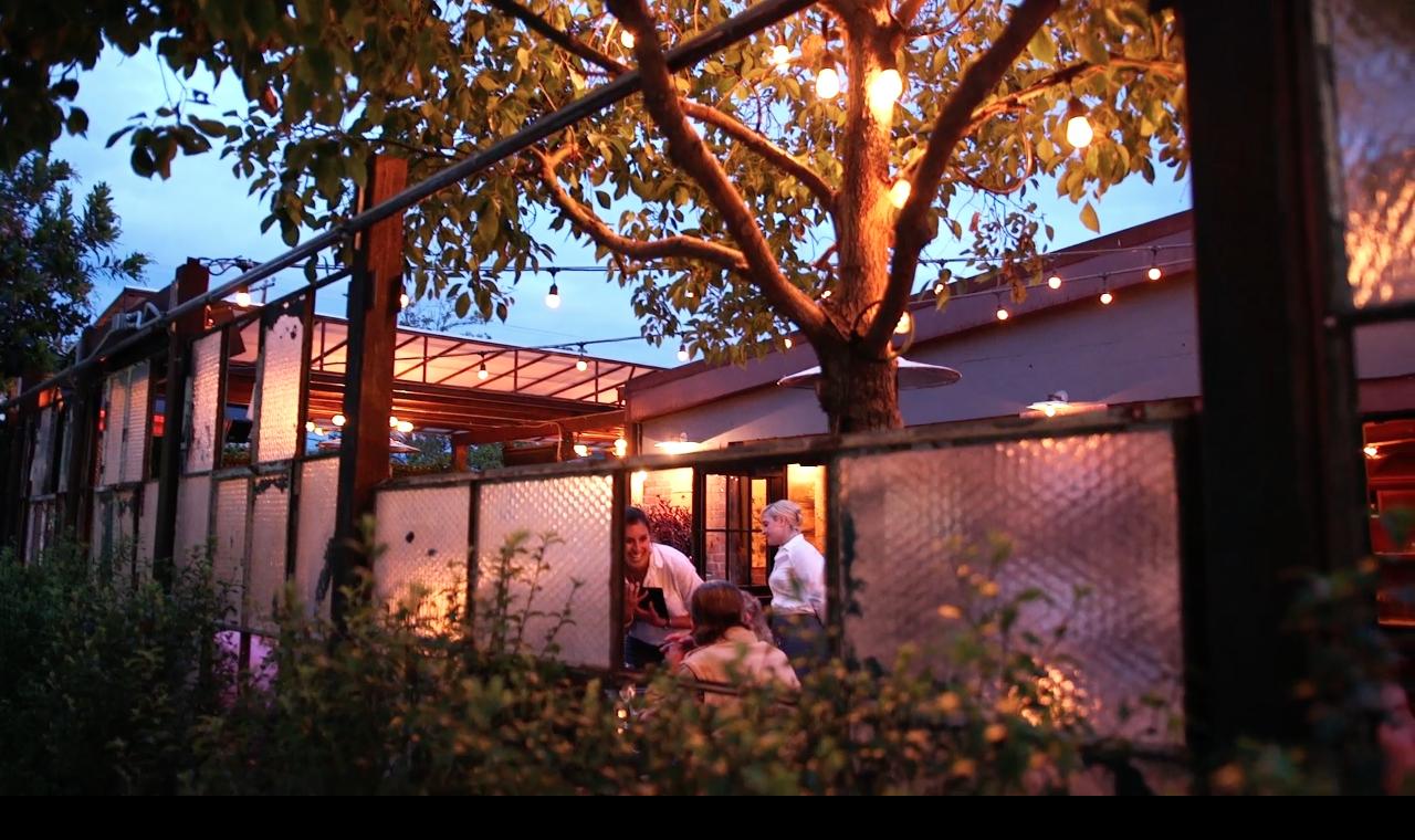 The Lark restaurant at dusk