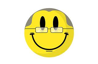 Middle-aged clubbers acid smiley
