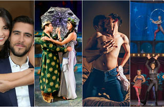 Ana Villafañe and Josh Segarra of On Your Feet!; Zeke Sulkes and Lindsey Gavel in All Our Tragic; Andrew Goetten and Ethan Warren in Love and Human Remains; the cast of Pippin