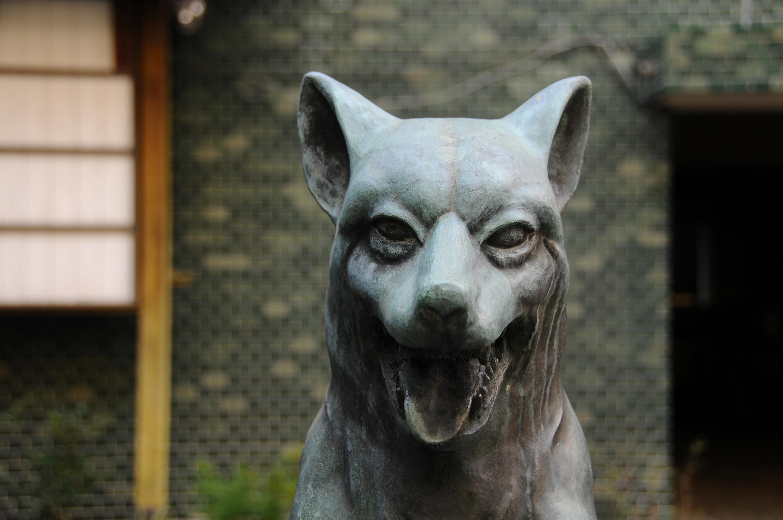 ニホンオオカミの狛犬に挨拶する。