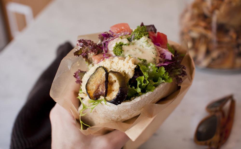 Dig into fancy vegan falafel...