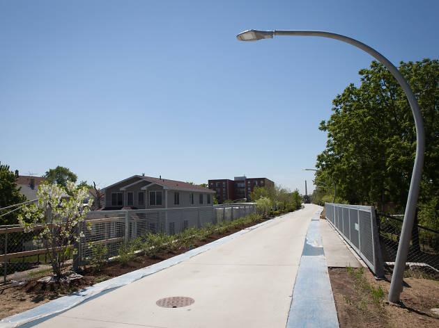 A view of the Bloomingdale Trail, the centerpiece of the 606 park system.