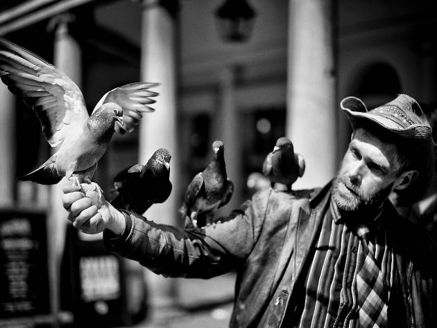 A man with pigeons on his arm.