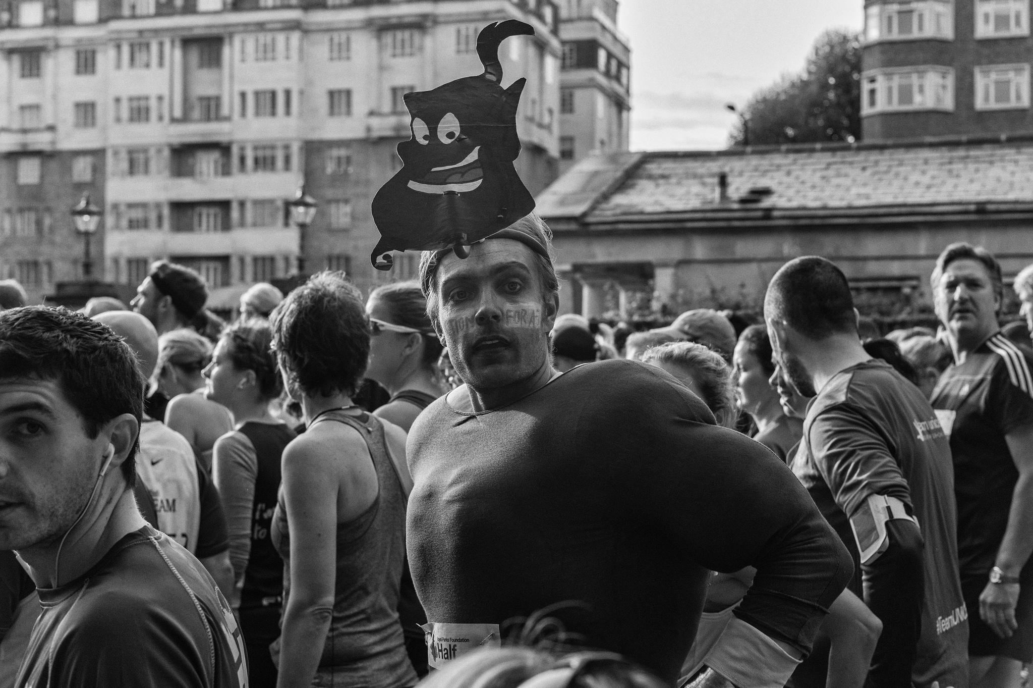 A man in a marathon costume.